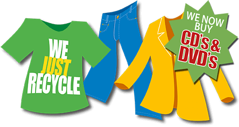 We Just Recycle cloths CD/DVDs logo